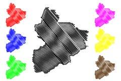 La C?te d'Ivoire de Vallee du Bandama District, R?publique d'illustration de vecteur de carte de dIvoire de Cote, carte de Vallee illustration de vecteur
