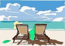 La côte de la mer opacifie la plage Photos stock