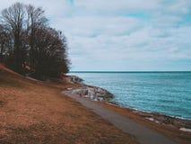 La caída colorea el bosque de la playa del mar de la estación que camina árboles de maderas que los lagos encantaron la naturalez imágenes de archivo libres de regalías