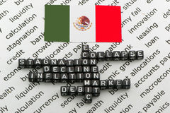 La caída de la economía de México Imagen de archivo libre de regalías