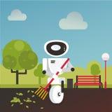La caída nacional del rastrillo del robot se va en el jardín con una escoba disponible libre illustration