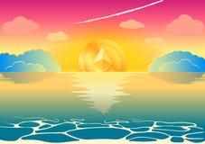 La caída y el crecimiento del ethereum crypto virtual de la moneda se asocia a puesta del sol y a amanecer libre illustration