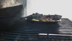 La caballa que miente en los limones cortados y el aceite de ebullición en parrilla está cociendo al vapor Preparación de marisco almacen de video