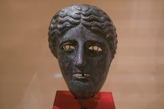 La caballería romana de bronce antigua enmascara según lo utilizado por Equitae fotos de archivo