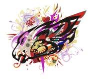 La cabeza colorida del león salpica con los corazones rojos Imagen de archivo