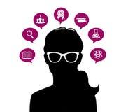 La cabeza de la mujer con los iconos de la educación Foto de archivo libre de regalías