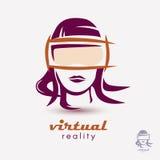 La cabeza de la mujer en icono de los vidrios de VR Fotografía de archivo
