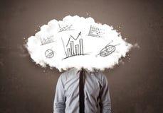 la cabeza de la nube del hombre de negocios con la mano dibujada representa concepto gráficamente Imágenes de archivo libres de regalías
