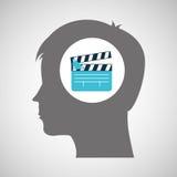 La cabeza de la silueta de la película de la chapaleta piensa película Foto de archivo