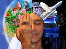La cabeza de un hombre se cubre con una palma con un ojo abierto imagenes de archivo
