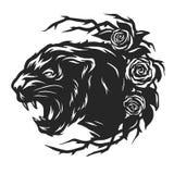 La cabeza de una pantera negra y de rosas Foto de archivo