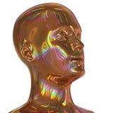 La cabeza del hierro que el hombre de la silueta estilizó el oro del portret pulió colorido stock de ilustración