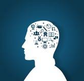 La cabeza del hombre con los iconos de la educación Imagen de archivo