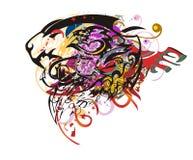 La cabeza del león del Grunge colorida salpica Fotos de archivo