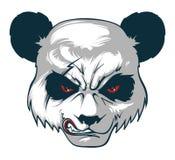 La cabeza enojada del ` s de la panda con la cicatriz y el rojo observa stock de ilustración