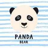 La cabeza linda del oso de panda con los niños diseña el texto Foto de archivo