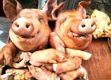 La cabeza y el acompañamiento del ` s del cerdo para adorar a dios es darle nuestro amor en las tradiciones de Tailandia Fotos de archivo