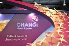 La cabina del grupo del aeropuerto de Changi (CAG) con repiensa lema del viaje en Singapur Airshow imágenes de archivo libres de regalías
