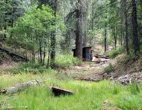 La cabina del minero acanalado de la lata cerca del Prescott, Arizona Fotos de archivo libres de regalías