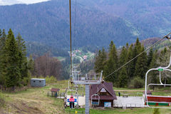 La cabina di funivia della città di Slavsk Fotografia Stock Libera da Diritti