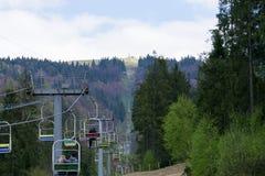 La cabina di funivia della città di Slavsk Immagini Stock