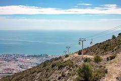 La cabina di funivia, Malaga, Spagna fotografia stock libera da diritti