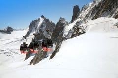 La cabina di funivia panoramica di Mont Blanc, Chamonix-Mont-Blanc Immagine Stock Libera da Diritti