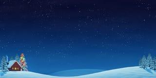La cabina y el árbol de navidad en invierno ajardinan en la noche Fotografía de archivo libre de regalías