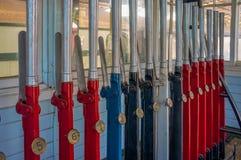 La cabine d'aiguillage dirige des leviers, Australie occidentale Images libres de droits