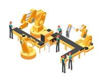 La cadena de producción del transportador industria del automóvil y automatización controla concepto isométrico del vector ilustración del vector