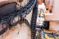 La cadena grande de barrenderos sedimenta en depuradora  Fotografía de archivo libre de regalías