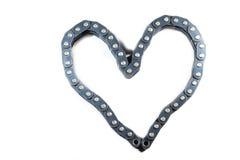 La cadena impulsora articulada - corazón Foto de archivo