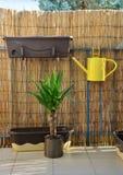 La caduta dell'annaffiatoio del metallo giallo sull'inferriata del balcone, bambù recinta il fondo Immagini Stock