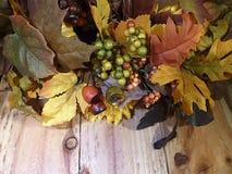La caduta lascia le plance di legno Fotografie Stock