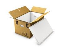 La caja de cartón vacía se abrió con espuma aislada adentro y el casquillo, aislado en el fondo blanco stock de ilustración