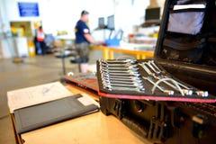 La caja de herramientas del mecánico Imágenes de archivo libres de regalías