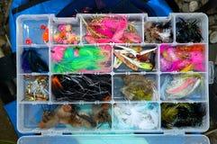 La caja de pescados vuela por completo fotografía de archivo libre de regalías