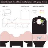 La caja de regalo elegante en forma de la caja con la primavera dibujada mano florece stock de ilustración