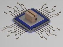 La caja elegante de la entrega en el icono realista 3d de la CPU rinde Fotos de archivo