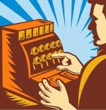 La caja registradora del cajero de las ventas labra