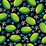 La cal y la Flor-fruta encantan el ejemplo inconsútil del modelo de la repetición Fondo en verde, azul, amarillo, blanco y negro stock de ilustración