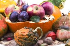 La calabaza amarilla madura dulce con muchos diverso otoño da fruto Fotografía de archivo libre de regalías
