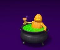 La calabaza de Halloween con el cóctel toma un baño en caldera de la bruja Imagen de archivo libre de regalías