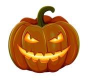 La calabaza de Halloween está sonriendo Aislado en el fondo blanco Imagen de archivo libre de regalías