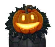 La calabaza de Halloween está sonriendo Aislado en el fondo blanco Fotos de archivo
