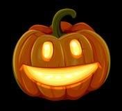 La calabaza de Halloween está sonriendo Aislado en fondo negro Fotografía de archivo