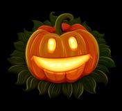 La calabaza de Halloween está sonriendo Aislado en fondo negro Fotos de archivo libres de regalías