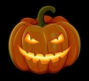 La calabaza de Halloween está sonriendo Aislado en fondo negro Imagen de archivo
