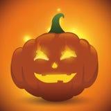 La calabaza del fuego de Halloween con brilla intensamente Fotos de archivo libres de regalías