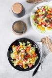 La calabaza y la carne de vaca de la carne asada de la ensalada de las verduras frescas Fotos de archivo